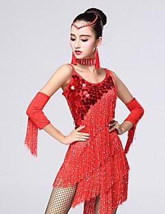 ריקוד לטיני שמלות בגדי ריקוד נשים ביצועים Chinlon / מילק פייבר קריסטלים / rhinestones / נצנצים / גדיל (ים) 4 חלקים בלי שרוולים גבוה