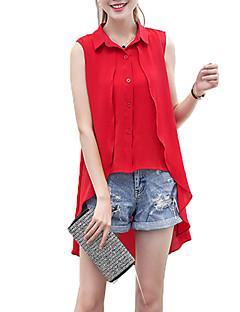 Vrouwen Grote maten / Eenvoudig / Street chic Overhemd,Uitgaan Effen Overhemdkraag Mouwloos Roze / Rood / Wit / Zwart / Grijs Polyester