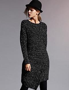 neue, bevor formal einfachen Pullover dresssolid Rundhals knielangen / asymmetrisch langen Hülse der Frauen