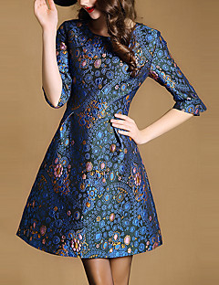 Women's Casual/Daily Vintage A Line DressEmbroidered Round Neck Above Knee  Sleeve Blue Polyester All Seasons