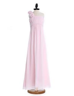 2017 Lanting bride® podlahy Délka šifónové junior družička šaty Plášť / sloupce jedno rameno s zavěšovat
