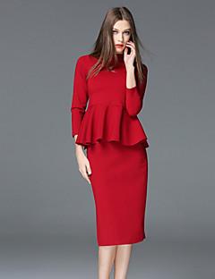 frmz Arbeit einfach Sommer T-Shirt mit Rundhalsausschnitt skirtsolid Hülse rot Polyester / Spandex-Medium