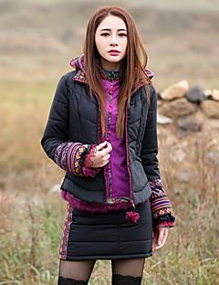 Damen Gefüttert Mantel,Standard Boho Ausgehen Druck-Polyester Baumwolle Langarm Mit Kapuze