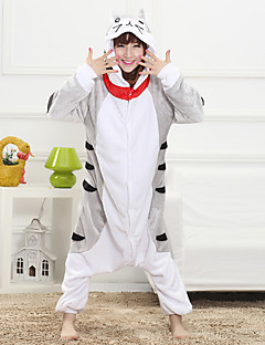 Unisex Cashmere / Polyester Cute Cat Cartoon One-piece Pajama Winter Thick Sleepwear Gray