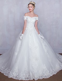 Ball Gown Wedding Dress Lacy Look Chapel Train Off-the-shoulder Tulle with Beading Lace