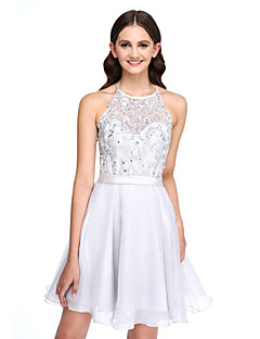 2017 Lanting Bride® Short / Mini Lace / Organza Elegant Bridesmaid Dress - A-line Jewel with Appliques
