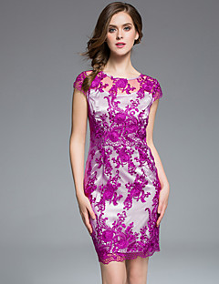 masa vrouwen plus size / uitgaan chinoiserie / verfijnde bodycon dressembroidered ronde hals