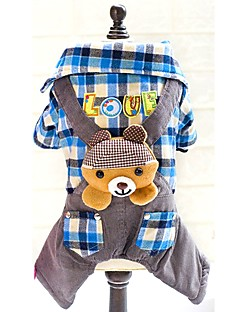 Winter Warm Bear Cotton Rose Blue Rompers Dog Jumpsuits for Pets Dogs