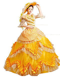 Steampunk@Women's Yellow Adult Princess Belle Costume Cosplay Party Dress  Halloween Dress