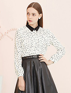 I'HAPPY Women's Going out Simple Spring / Fall ShirtGalaxy Shirt Collar Long Sleeve White / Black Polyester Opaque