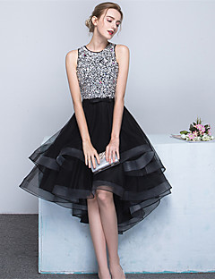 Ball Gown Jewel Neck Asymmetrical Satin Tulle Cocktail Party Homecoming Dress with Beading Bow(s) Sash / Ribbon by MLRS