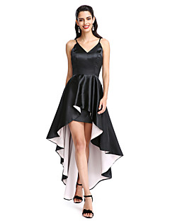 2017 ts couture® prom cocktailparty kjole a-line spaghetti-stropper asymmetrisk stretch satin