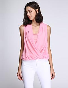 T-shirt Da donna Casual Sensuale Estate,Collage A V Poliestere Rosa / Bianco / Verde Senza maniche Sottile