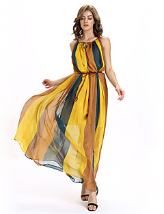 Women's Casual/Daily / Beach / Holiday Sexy / Simple / Street chic Loose / Chiffon / Swing DressColor Block Off Shoulder