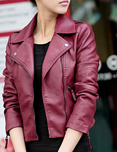 Women's New Arrival Korean Slim  Casual/Work Long Sleeve Jackets , PU Medium