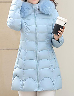 Women's Solid Plus Size  Fur Collar Down Coat,Street chic Hooded Long Sleeve