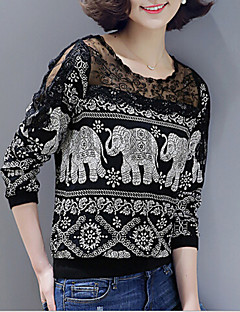 Women's Animal Print Black T-shirt,Round Neck Long Sleeve