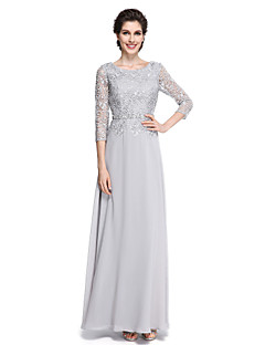 2017 Lanting Bride® Sheath / Column Mother of the Bride Dress - Elegant Ankle-length 3/4 Length Sleeve Chiffon / Lace