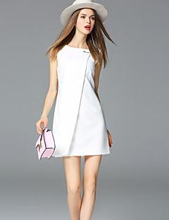 frmz női kiment egyszerű köpeny dresssolid kerek nyakú mini ujjatlan közepén emelkedik rugalmatlan közepes