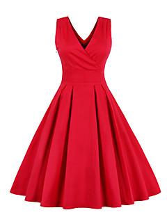 Women's Plus Size Vintage Sheath DressSolid Sleeveless Red Cotton All Seasons Mid Rise Micro-elastic Medium