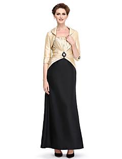 2017 לנטינג אמא נדן / טור bride® של שמלת הכלה באורך הקרסול 3/4 אורך טפטה שרוול עם חרוזים