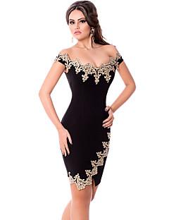 Women's Gold Lace Applique Off Shoulder Mini Dress