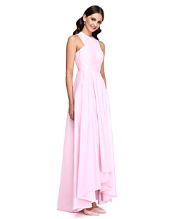 Lanting Bride® Asymmetrical Taffeta Bridesmaid Dress - Elegant A-line Jewel with Draping