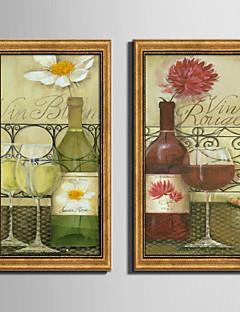Mâncare/Băuturi Pânză Înrămată / Set Înrămat Wall Art,PVC Material Auriu Fără Rogojină cu Frame For Pagina de decorare cadru Art