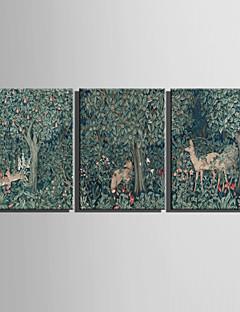 Animal / Botanique Toile Trois Panneaux Prêt à accrocher , Format Horizontal