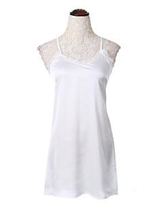 女性 セクシー お出かけ シース ドレス,ソリッド ストラップ 膝上 ノースリーブ ホワイト コットン 夏 ハイライズ 伸縮性なし 薄手
