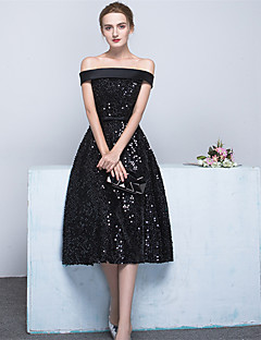 Cocktail Party Dress Ball Gown Off-the-shoulder Tea-length Satin / Sequined with Bow(s) / Sash / Ribbon