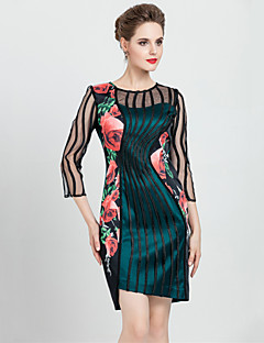 MASA  Women's Plus Size / Going out Vintage Sheath DressFloral / Patchwork Round Neck Asymmetrical Sleeve