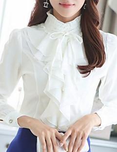 Mulheres Blusa Formal Vintage Primavera,Sólido Branco / Preto Poliéster Colarinho Chinês Manga Longa Média
