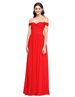 Lanting Bride®Floor-length Chiffon Bridesmaid Dress - Elegant A-line Off-the-shoulder with Pleat