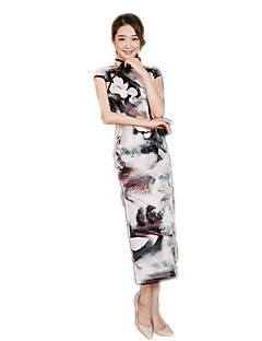 한 조각/드레스 코스프레 로리타 드레스 그레이 플로럴 짧은 소매 긴 길이 용 폴리에스터