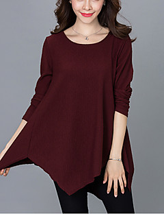 Women's Casual/Daily Street chic Fall T-shirtSolid Round Neck Long Sleeve Blue / Red / Black Cotton Medium