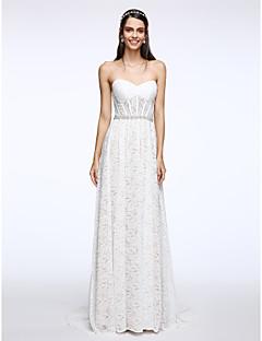 LAN TING BRIDE 시스 / 칼럼 웨딩 드레스 플로럴 레이스 스윕 / 브러쉬 트레인 스윗하트 레이스 와 크리스탈 레이스