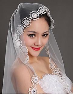 웨딩 면사포 한층 블러셔 베일 / 팔꿈치 베일 / 손가락 베일 레이스처리된 가장자리 명주그물 아이보리