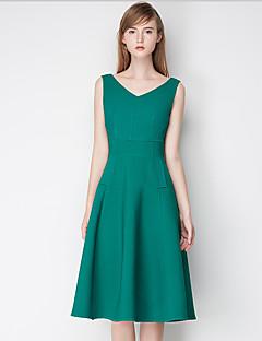 Damen A-Linie Kleid-Ausgehen Einfach Solide V-Ausschnitt Übers Knie Ärmellos Rosa / Grün Polyester Sommer Hohe Hüfthöhe Unelastisch Mittel