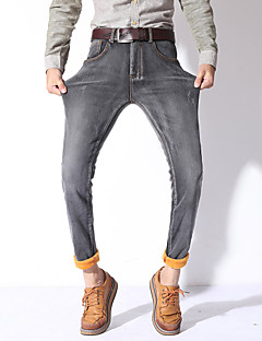 Men's Solid Casual / Work JeansFaux Fur / Cotton / Polyester / Spandex Blue / Gray MG-Y618