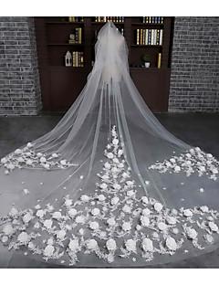 Véus de Noiva Duas Camadas Véu Catedral Corte da borda Tule Renda Marfim
