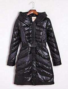 ארוך מעיל פוך מעיל נשים,קולור בלוק וינטאג' יום יומי\קז'ואל פוליאסטר נוצות ברווז לבנות-שרוול ארוך עם קפוצ'ון שחור