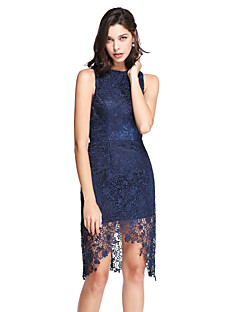 TS Couture® Cocktail Party Dress Sheath / Column Jewel Asymmetrical Lace with Lace