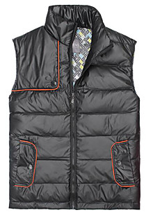 Men's Regular Down Coat,Simple Casual/Daily Solid-Polyester White Duck Down Sleeveless Stand Black