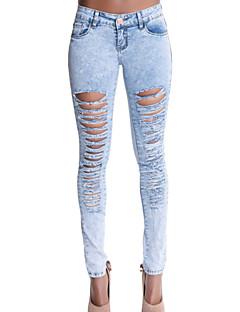 Γυναικεία Παντελόνι Απλό / Κομψό στυλ street Τζιν Μικροελαστικό Βαμβάκι