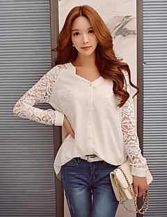 Feminino Camisa Happy-Hour / Casual / Trabalho Vintage / Sofisticado Primavera / Outono,Sólido Branco Poliéster / Elastano Decote VManga