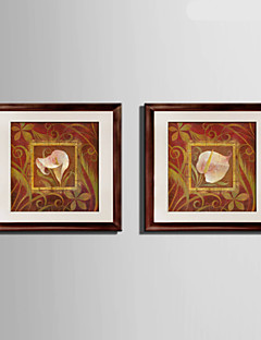 E-HOME® Framed Canvas Art, Leaves And Flowers Framed Canvas Print Set Of 2