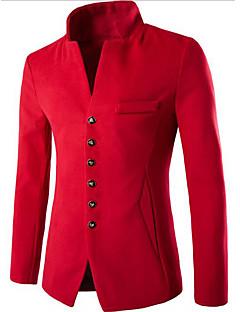 אחיד / קולור בלוק עומד פשוטה יום יומי\קז'ואל מעיל מחויט גברים,כחול / אדום / שחור שרוול ארוך סתיו / חורף בינוני (מדיום) צמר / כותנה