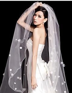 Véus de Noiva Uma Camada Véu Capela Borda com Tira Borda Lápis Tule
