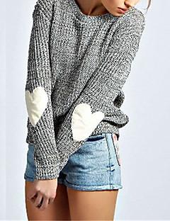 Damen Standard Pullover-Lässig/Alltäglich Einfach Solide Grau Rundhalsausschnitt Langarm Polyester Herbst / Winter Mittel Mikro-elastisch